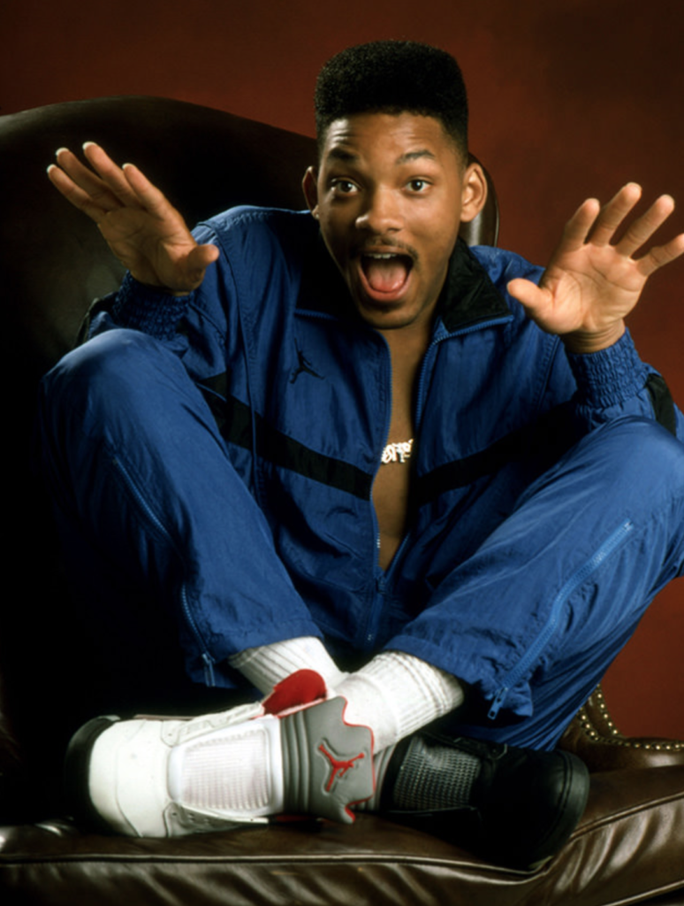 Will Smith porte les Air Jordan 5 Fire Red et Black Metallic Silver version OG